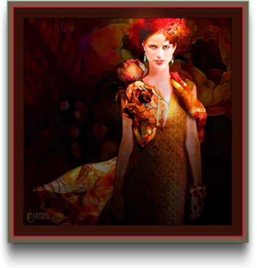 Digital painting of a lady with flaming red hair