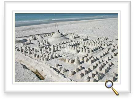 Somebody built a huge sandcastle empire in the sand.