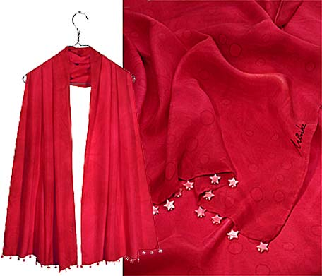 Ulrike Scarves with red mother of pearl stars.
