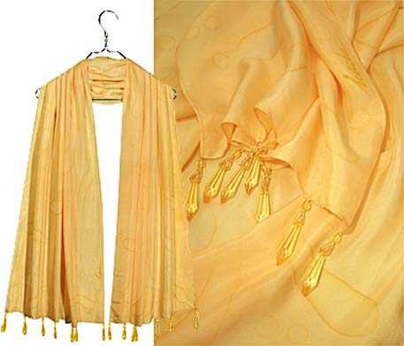 Ulrike Scarves with yellow delicious long drop pearls.
