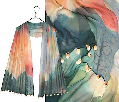 Ulrike Scarves of a coral reef with shell border.