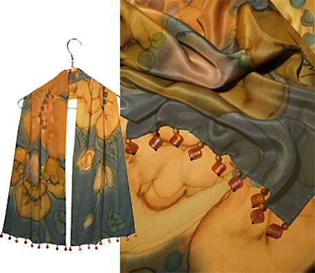Ulrike Scarves in amber tones with drops of self colored beads.