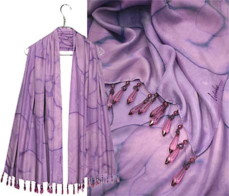 Ulrike Scarves with a rich lavender silk with self colored tear drop beads on hem.