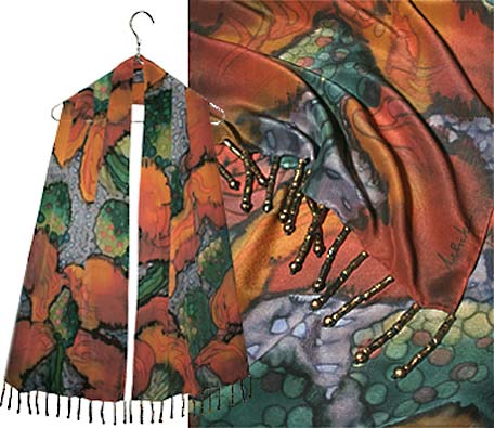 Complex multi floral Ulrike scarf with many fall colors and beaded edge.