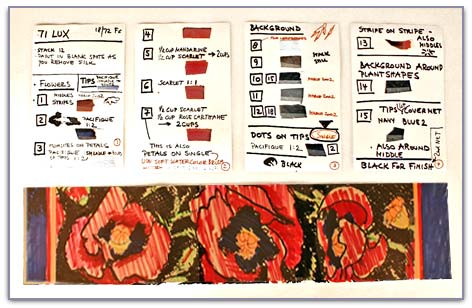 Sketch and dye samples for poppy scarf