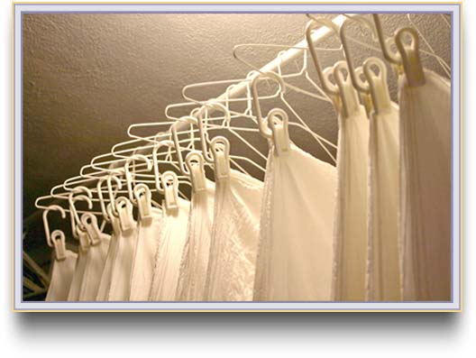 Washed white silk on hangers