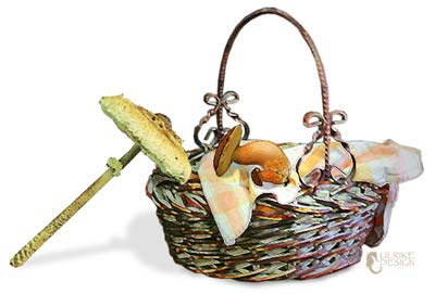 Basket with mushrooms.