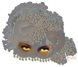 Mask with lacy adornments